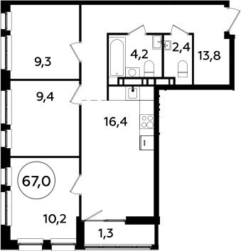 4Е-к.кв, 67 м², от 18 этажа