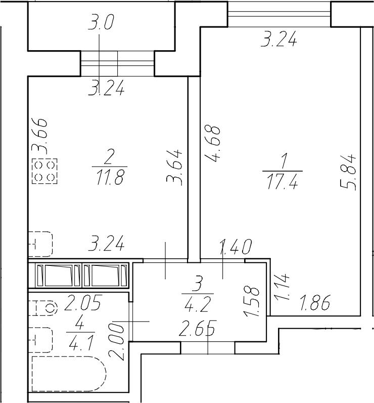 1-к.кв, 40.5 м²