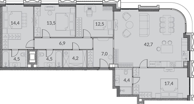 5Е-к.кв, 132 м²