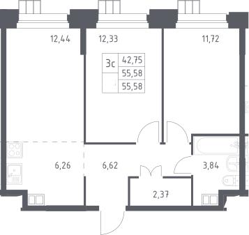 3Е-к.кв, 55.58 м², 12 этаж
