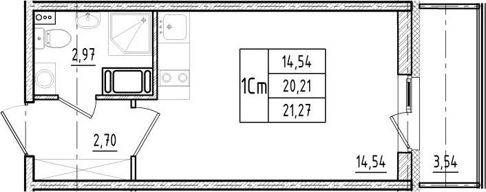 Студия, 20.21 м²– 2