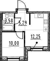 1-к.кв, 31.12 м²