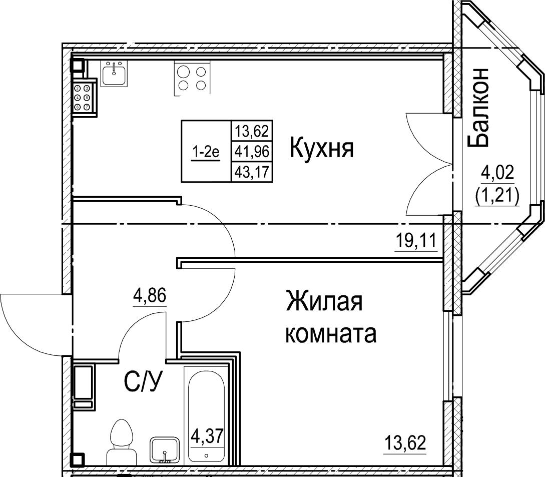 2Е-к.кв, 43.17 м²