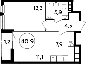 2Е-комнатная, 40.9 м²– 2