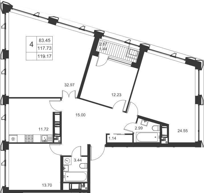 4-к.кв, 119.17 м²