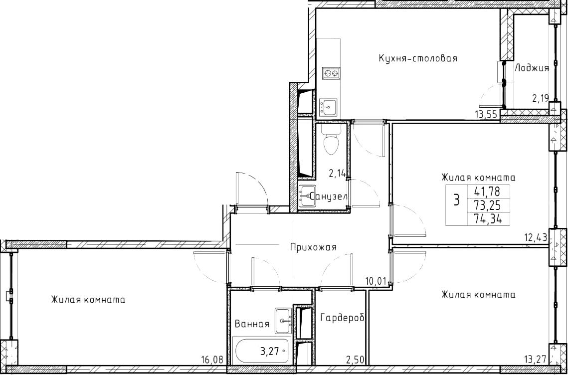 3-к.кв, 74.34 м²
