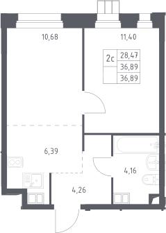 2Е-комнатная, 36.9 м²– 2