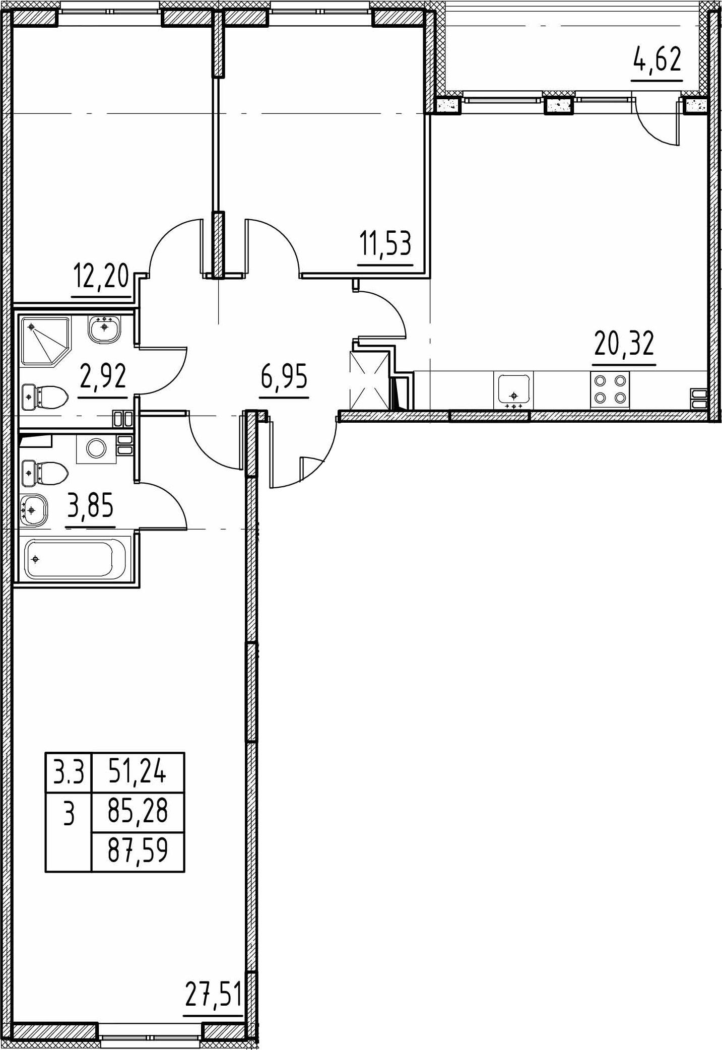 4Е-к.кв, 85.28 м²