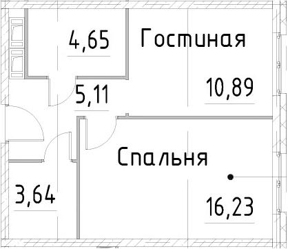 1-к.кв, 40.51 м², 22 этаж