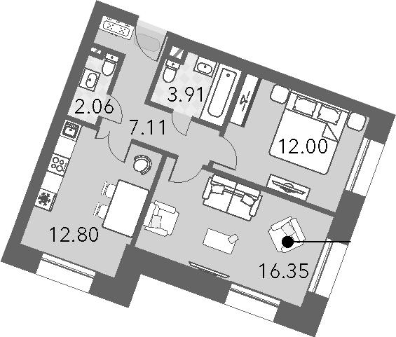 2-к.кв, 54.23 м²