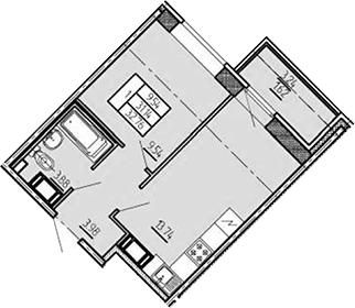 1-комнатная, 32.76 м²– 2