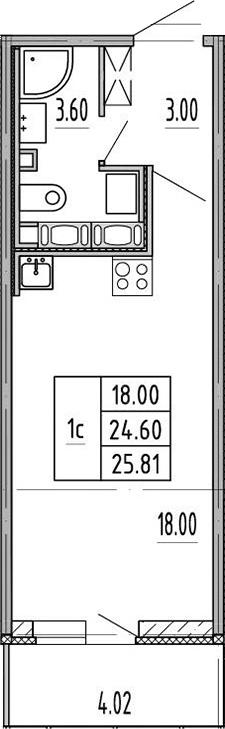 Студия, 24.6 м²– 2