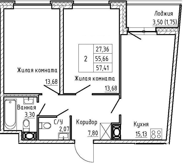 3Е-к.кв, 57.41 м², от 4 этажа