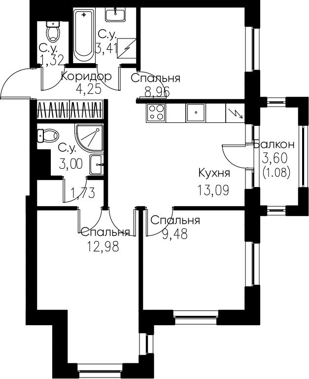3-комнатная, 59.3 м²– 2