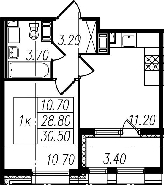 2-к.кв (евро), 32.2 м²