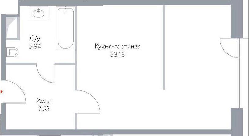 Студия, 46.67 м²– 2