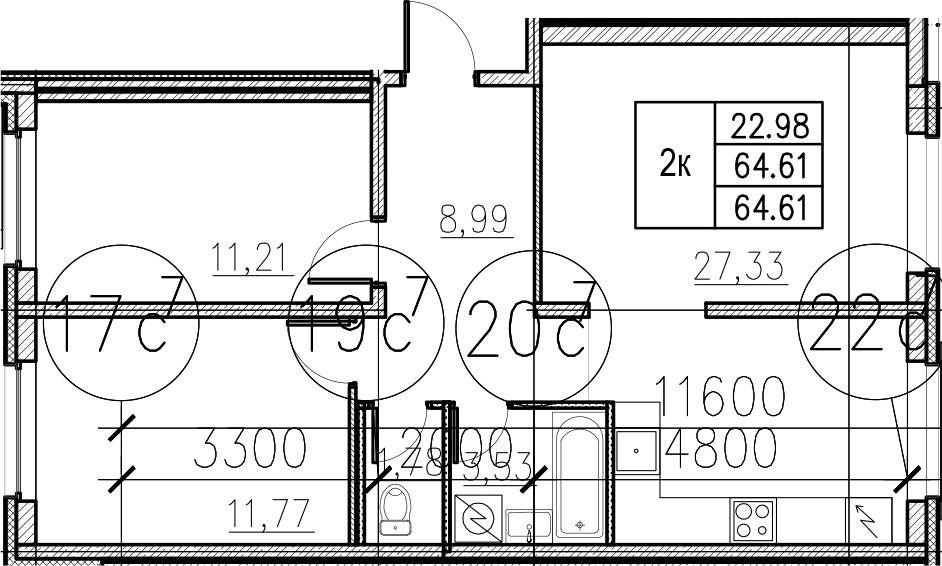 3Е-комнатная, 64.61 м²– 2