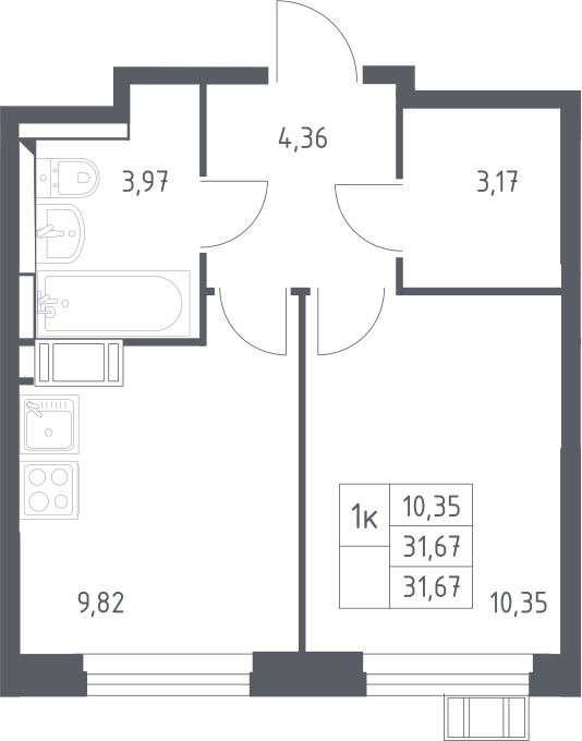 1-комнатная, 31.67 м²– 2