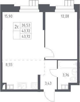 2Е-к.кв, 43.72 м², 4 этаж
