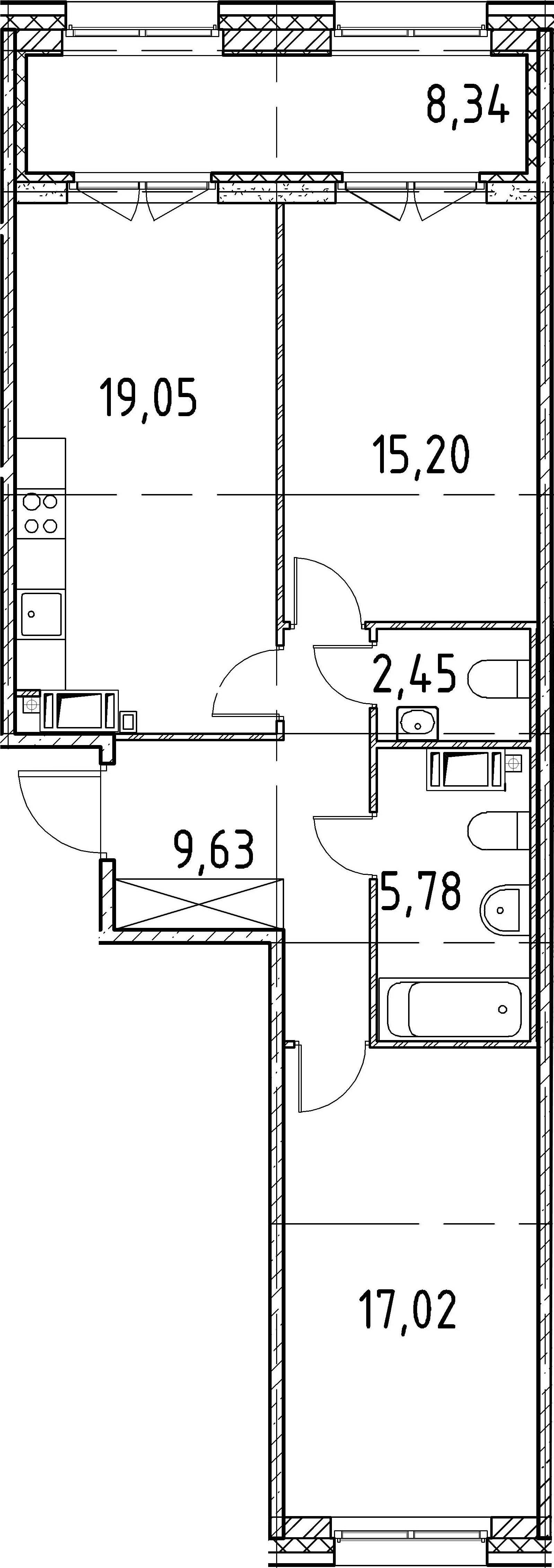 2-к.кв, 69.13 м²