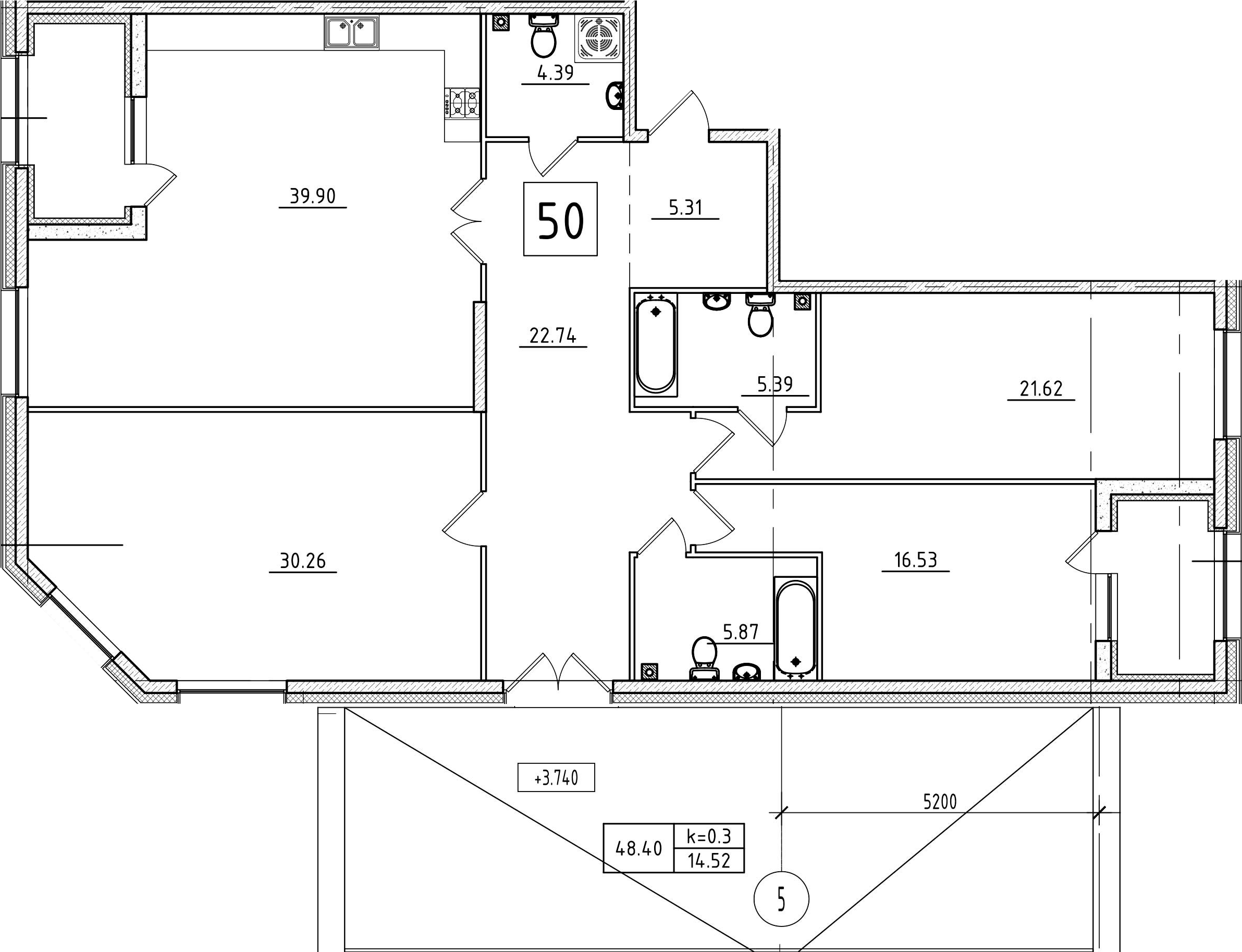 4Е-к.кв, 171.2 м², 2 этаж