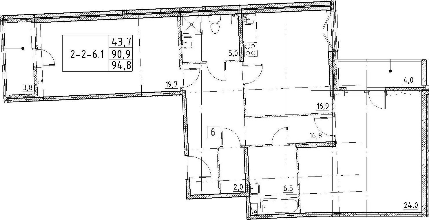 3Е-комнатная, 94.8 м²– 2