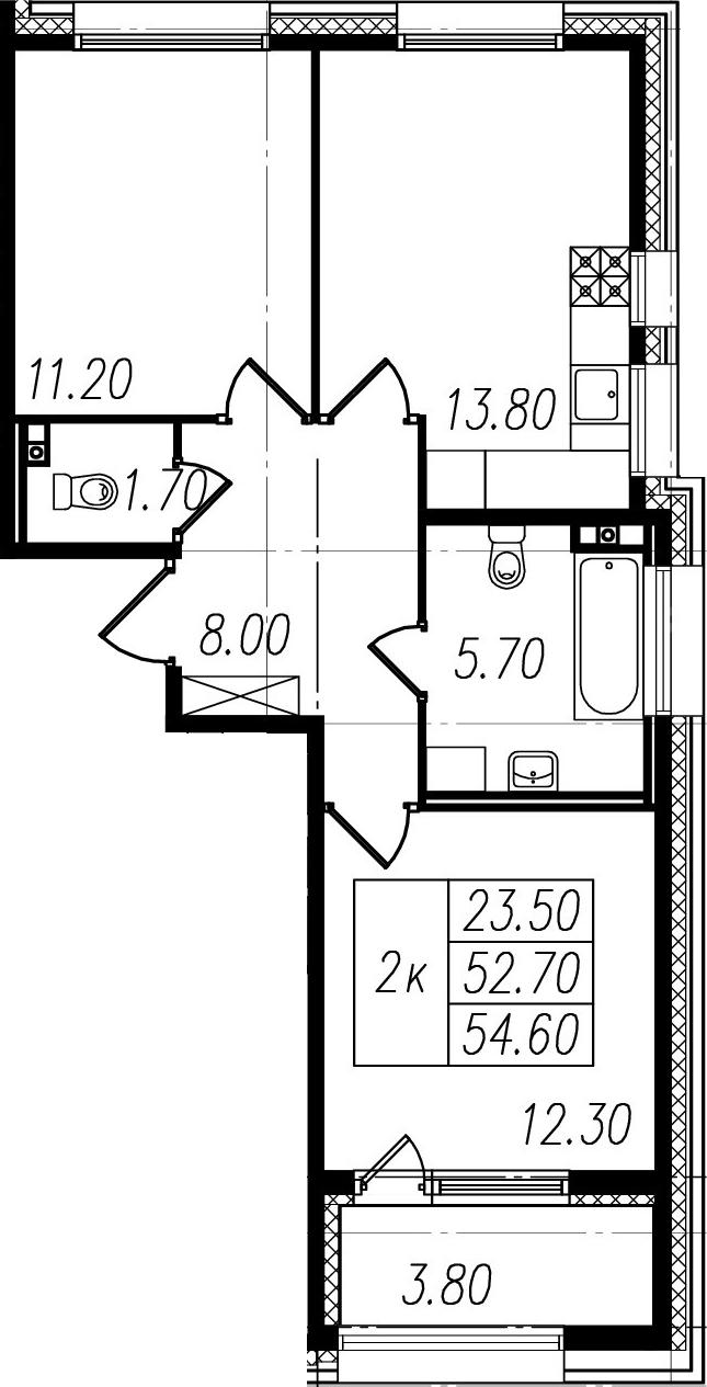 2-к.кв, 52.7 м²