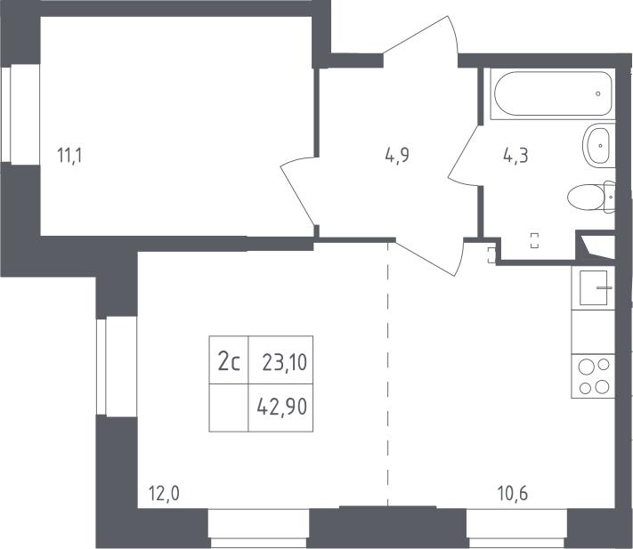 2-к.кв (евро), 42.9 м²