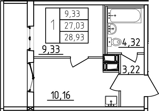 1-к.кв, 28.93 м², 7 этаж