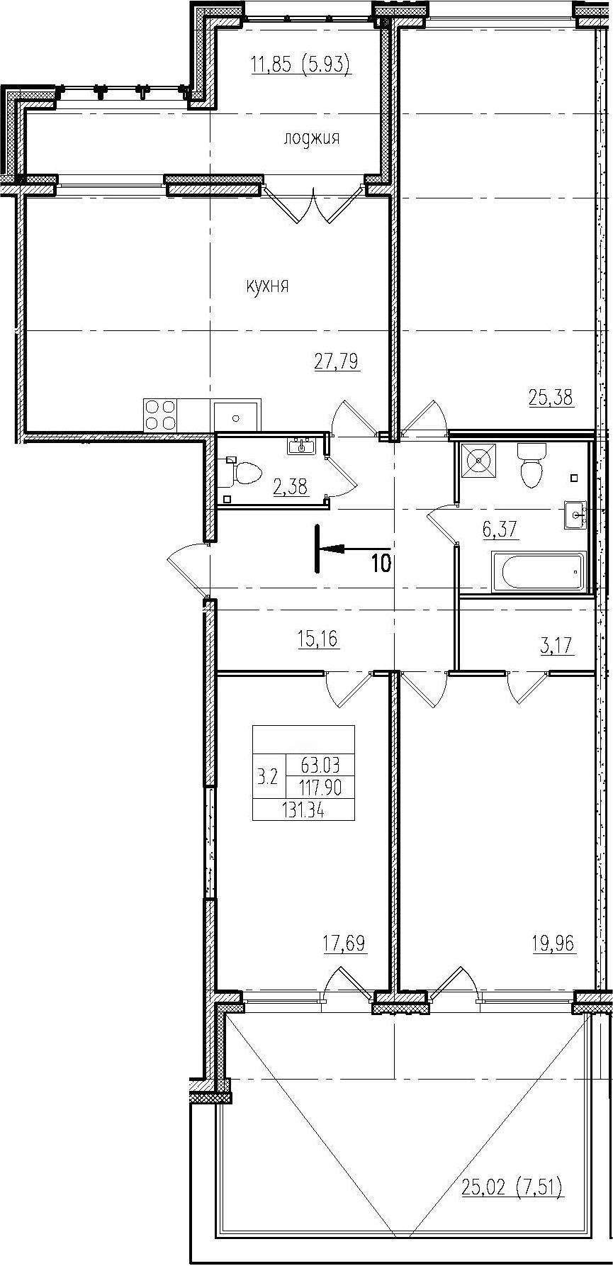 4Е-комнатная, 131.34 м²– 2