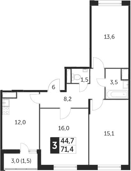 3-к.кв, 71.4 м²