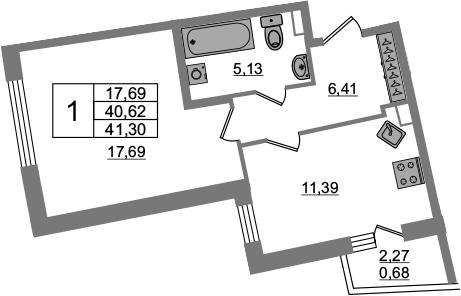 1-к.кв, 40.62 м², 2 этаж