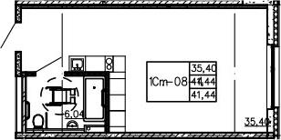Студия, 41.44 м²– 2