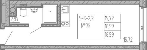 Студия, 18.59 м²– 2