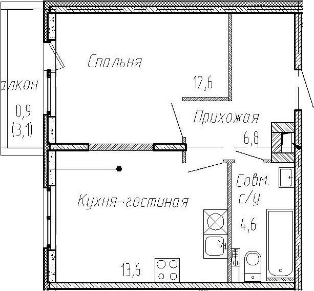1-комнатная квартира, 37.6 м², 2 этаж – Планировка
