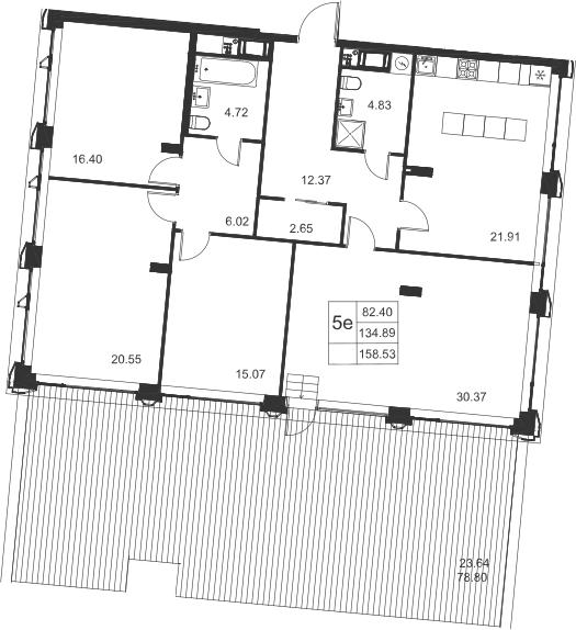 5Е-к.кв, 158.53 м²