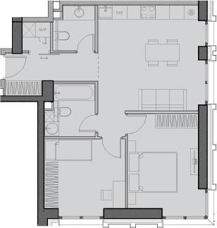 Свободная планировка, 55.8 м²– 2