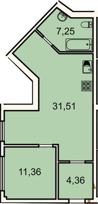 2Е-комнатная, 54.5 м²– 2