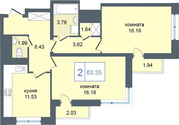 2-комнатная, 63.35 м²– 2