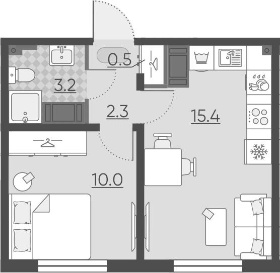2Е-комнатная, 31.4 м²– 2