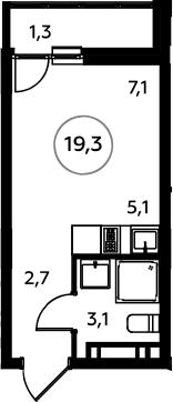 Студия, 20.6 м²