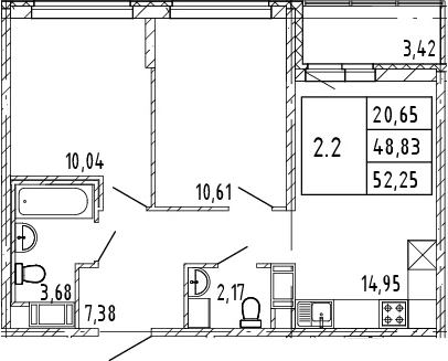 3Е-к.кв, 48.83 м², от 4 этажа