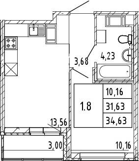 2Е-к.кв, 31.59 м², от 4 этажа