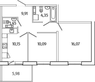 2-комнатная, 53.81 м²– 2