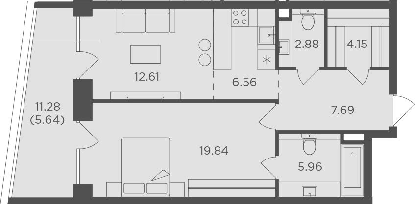 2Е-комнатная, 65.33 м²– 2