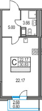 Студия, 30.83 м²– 2