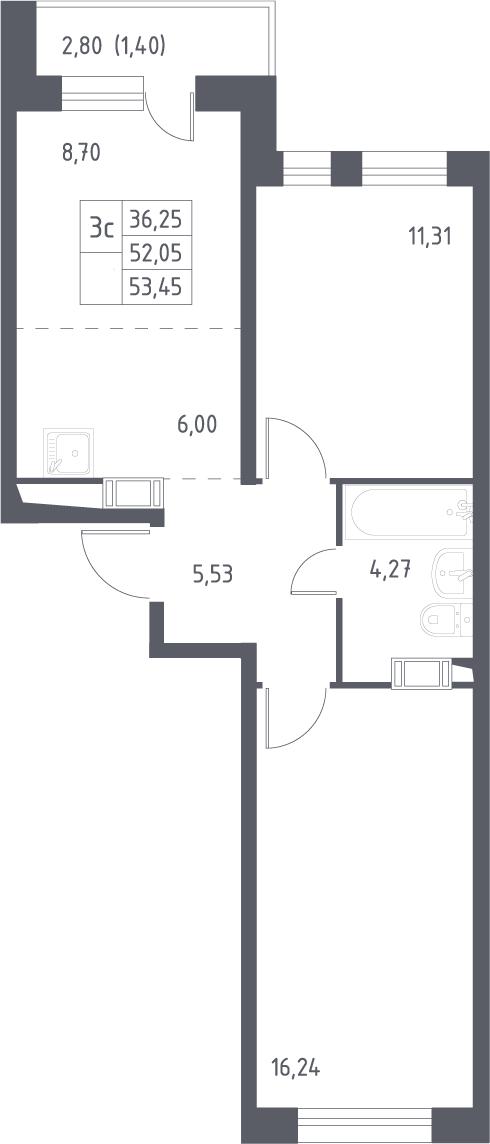 3Е-к.кв, 53.45 м², 14 этаж