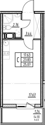 Студия, 23.83 м², от 3 этажа