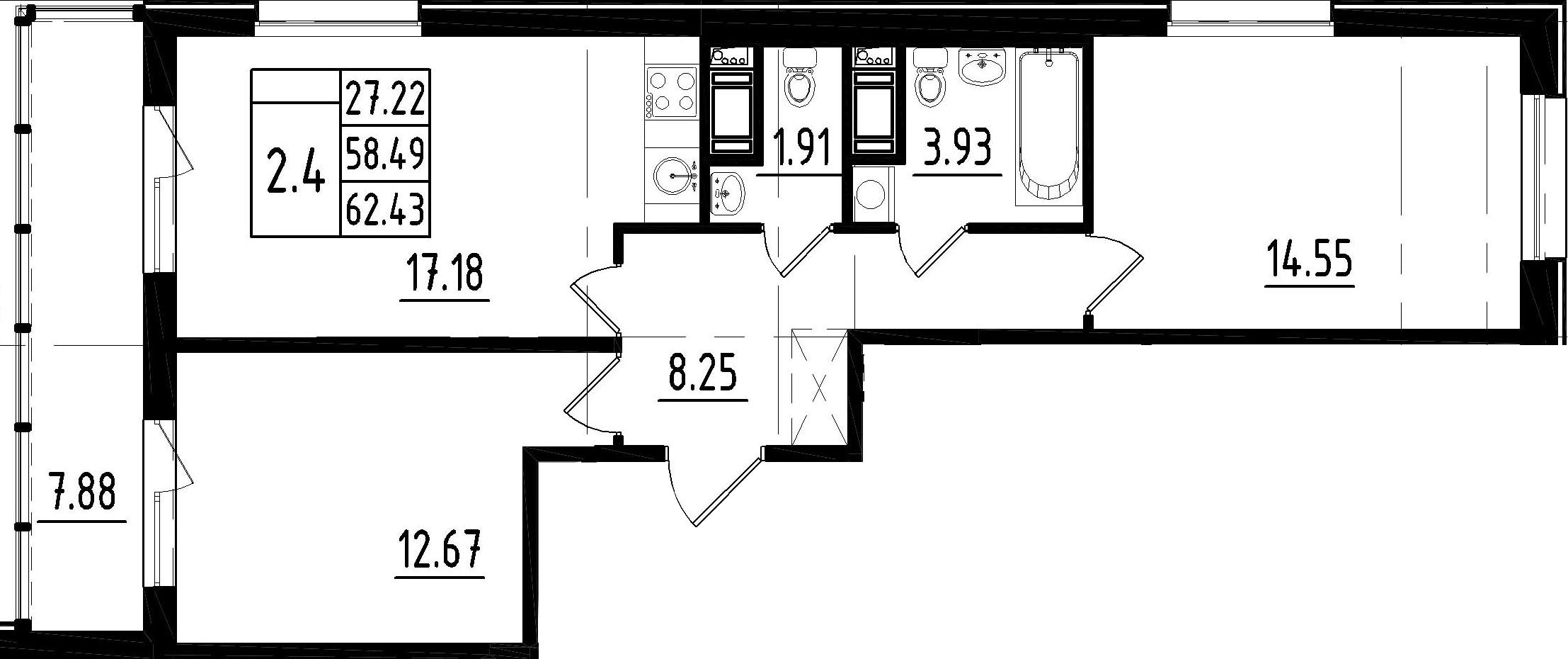 3-к.кв (евро), 66.37 м²