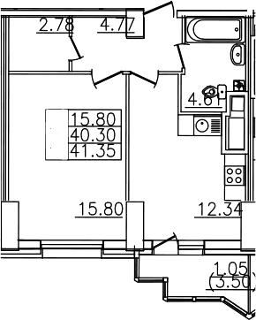 1-комнатная, 41.35 м²– 2